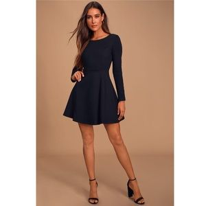 Lulu's Forever Chic Black Long Sleeve Dress